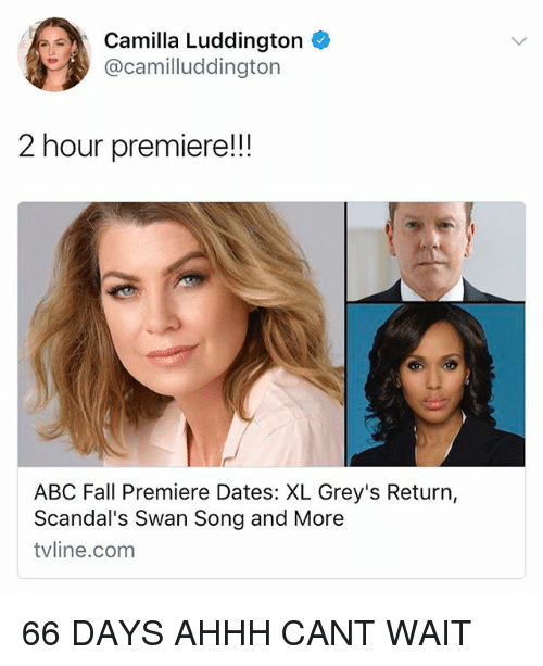 Abc, Fall, and Memes: Camilla Luddington  @camilluddington  2 hour premiere!!!  ABC Fall Premiere Dates: XL Grey's Return,  Scandal's Swan Song and More  tvline.com 66 DAYS AHHH CANT WAIT