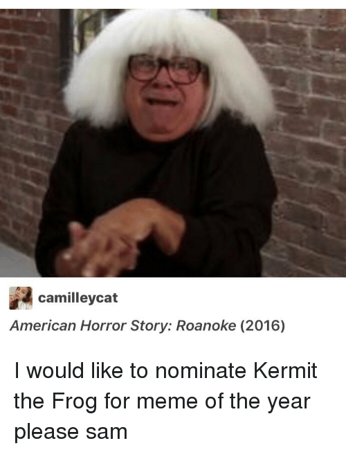 American Horror Story, Kermit the Frog, and Memes: camilleycat  American Horror Story: Roanoke (2016) I would like to nominate Kermit the Frog for meme of the year please ≪sam≫