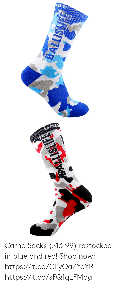 Memes, Blue, and 🤖: Camo Socks ($13.99) restocked in blue and red!  Shop now: https://t.co/CEyOaZYdYR https://t.co/sFQ1qLFMbg