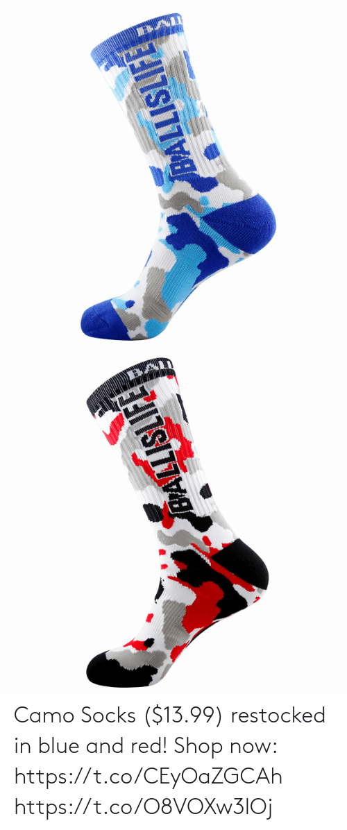 Memes, Blue, and 🤖: Camo Socks ($13.99) restocked in blue and red!  Shop now: https://t.co/CEyOaZGCAh https://t.co/O8VOXw3lOj