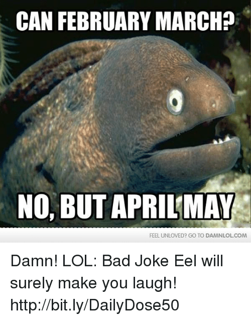 bad joke eel: CAN FEBRUARY MARCH  NO, BUT APRILMAY  FEEL UNLOVED? GO TO DAMNLOLCOM Damn! LOL: Bad Joke Eel will surely make you laugh!