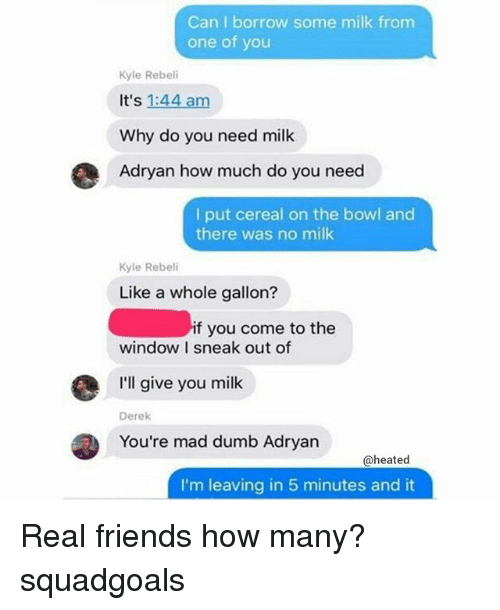 Dumb, Friends, and Memes: Can I borrow some milk from  one of you  Kyle Rebeli  It's 1:44 am  Why do you need milk  Adryan how much do you need  I put cereal on the bowl and  there was no milk  Kyle Rebeli  Like a whole gallon?  if you come to the  window I sneak out of  I'll give you milk  Derek  You're mad dumb Adryan  @heated  I'm leaving in 5 minutes and it Real friends how many? squadgoals