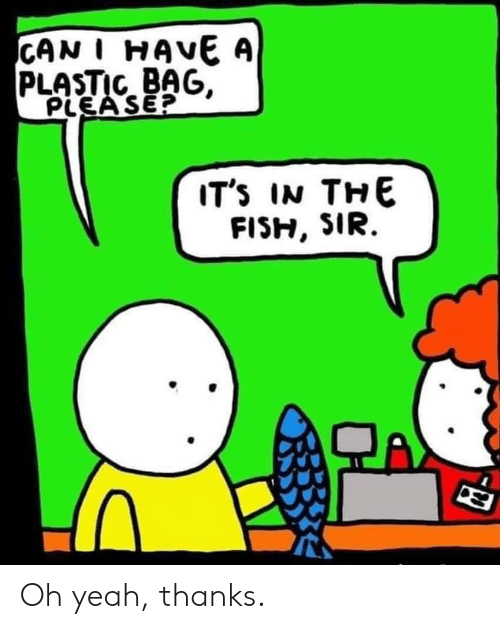 plastic bag: CAN I HAVE A  PLASTIC BAG,  PLEA SE?  IT's IN THE Oh yeah, thanks.