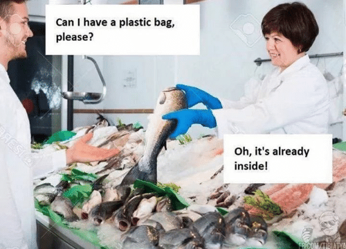 plastic bag: Can I have a plastic bag,  please?  Oh, it's already  inside!