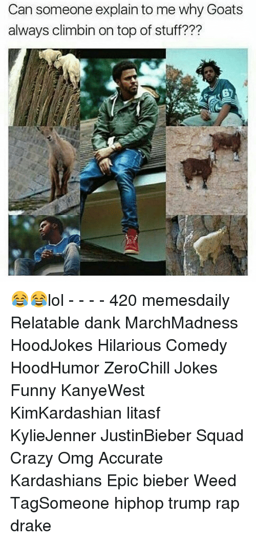 Drake, Kardashians, and Memes: Can someone explain to me why Goats  always climbin on top of stuff??? 😂😂lol - - - - 420 memesdaily Relatable dank MarchMadness HoodJokes Hilarious Comedy HoodHumor ZeroChill Jokes Funny KanyeWest KimKardashian litasf KylieJenner JustinBieber Squad Crazy Omg Accurate Kardashians Epic bieber Weed TagSomeone hiphop trump rap drake