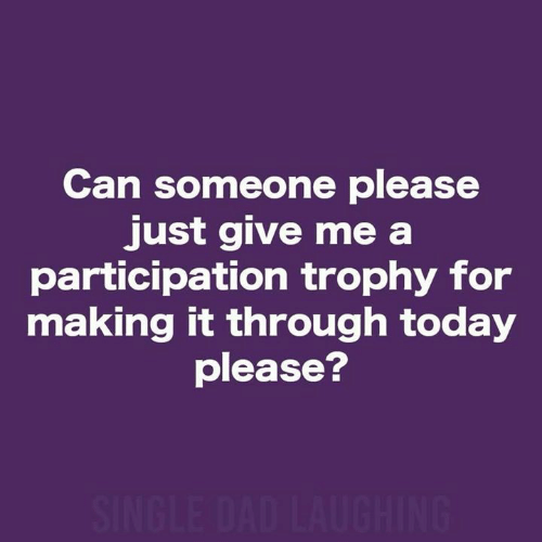 Participation Trophy: Can someone please  just give me a  participation trophy for  making it through today  please?  SINGLE DAD LAUGHING