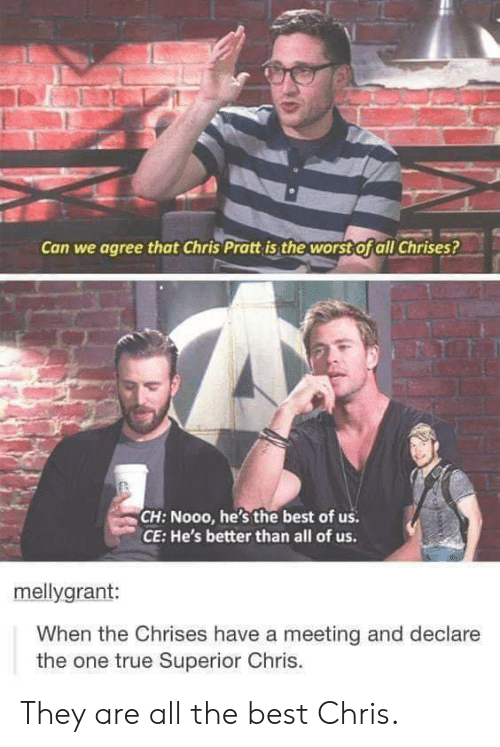 Chris Pratt: Can we agree that Chris Pratt is the worst Ofall Chrises?  CH: Nooo, he's the best of us  CE: He's better than all of us.  mellygrant:  When the Chrises have a meeting and declare  the one true Superior Chris. They are all the best Chris.