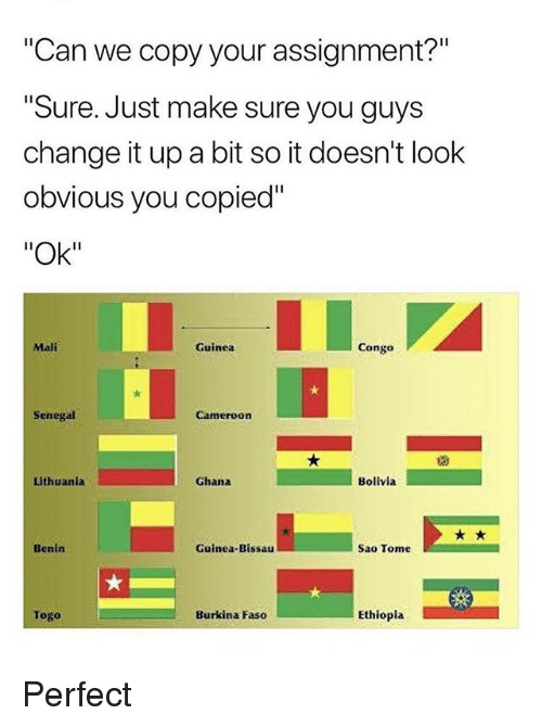 "sao tome: ""Can we copy your assignment?""  Sure. Just make sure you guys  change it up a bit so it doesn't look  obvious you copied""  ""Ok""  Mali  Guinea  Congo  Senegal  Cameroon  Lithuania  Ghana  Bolivia  Benin  Guinea-Bissau  Sao Tome  Togo  Burkina Faso  Ethiopla Perfect"