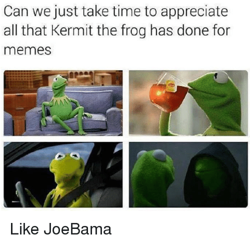 Kermit the Frog, Memes, and Appreciate: Can we just take time to appreciate  all that Kermit the frog has done for  memes Like JoeBama