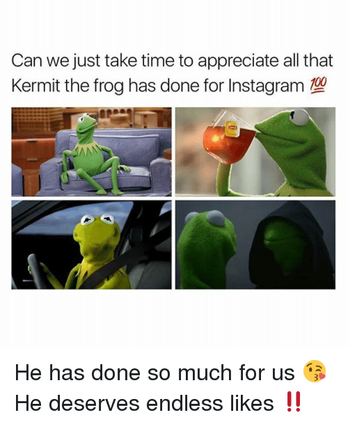 Kermit the Frog, Memes, and Appreciate: Can we just take time to appreciate all that  Kermit the frog has done for Instagram  00  AAN He has done so much for us 😘He deserves endless likes ‼️