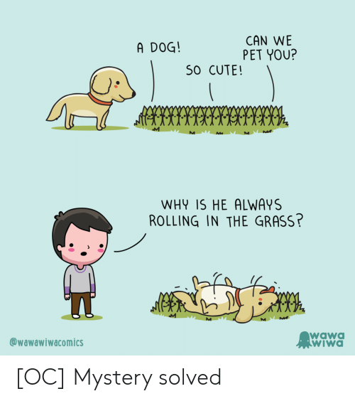 Mystery Solved: CAN WE  PET YOU?  A DOG!  S0 CUTE!  WHY IS HE ALWAYS  ROLLING IN THE GRASS?  M  wawa  WIWA  @wawawiwacomics [OC] Mystery solved