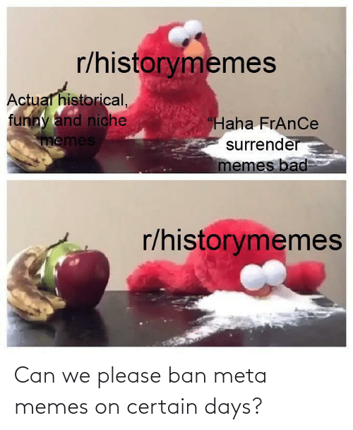 Ban: Can we please ban meta memes on certain days?