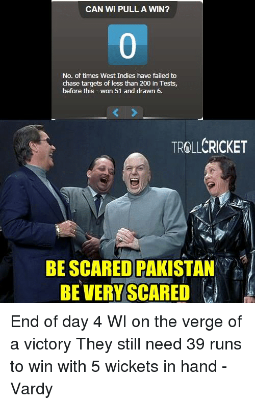 vardy: CAN WI PULL A WIN?  No. of times West Indies have failed to  chase targets of less than 200 in Tests,  before this  won 51 and drawn 6.  TROLLCRICKET  BE SCARED PAKISTAN  BE VERY SCARED End of day 4  WI on the verge of a victory  They still need 39 runs to win with 5 wickets in hand   -Vardy