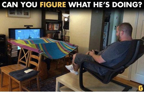 Video Games: CAN YOU  FIGURE  WHAT HE'S DOING?