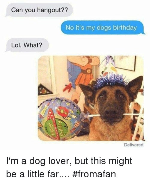 dog lovers: Can you hangout??  No it's my dogs birthday  Lol. What?  Delivered I'm a dog lover, but this might be a little far.... #fromafan