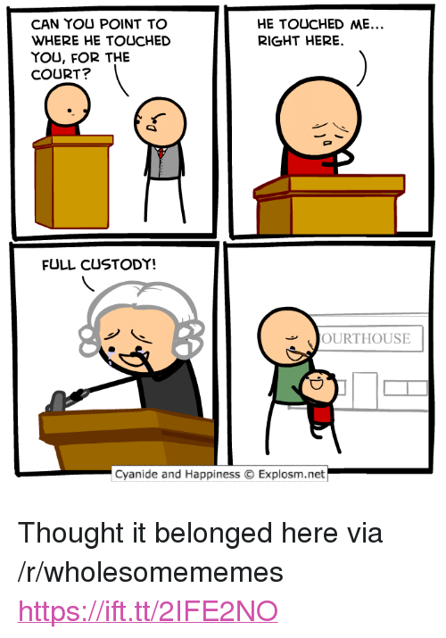 """Cyanide and Happiness, Happiness, and Thought: CAN YOU POINT TO  WHERE HE TOUCHED  YOU, FOR THE  COURT?  HE TOUCHED ME.  RIGHT HERE  FULL CUSTODY!  OURTHOUSE  Cyanide and Happiness  Explosm.net <p>Thought it belonged here via /r/wholesomememes <a href=""""https://ift.tt/2IFE2NO"""">https://ift.tt/2IFE2NO</a></p>"""