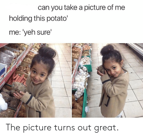 A Picture Of Me: can you take a picture of me  holding this potato'  me: 'yeh sure'  Vilh The picture turns out great.