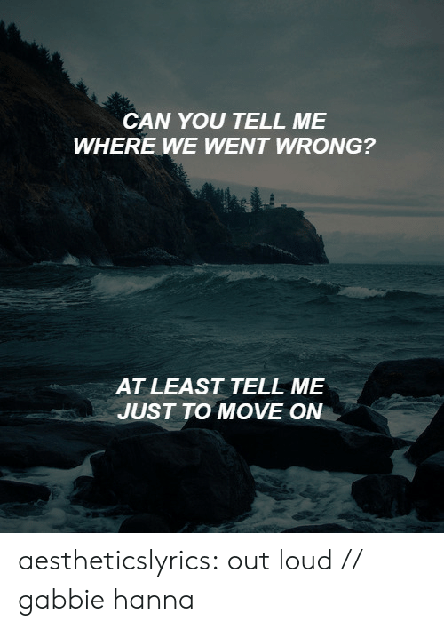 hanna: CAN YOU TELL ME  WHERE WE WENT WRONG?   AT LEAST TELL ME  JUST TO MOVE ON aestheticslyrics:  out loud // gabbie hanna