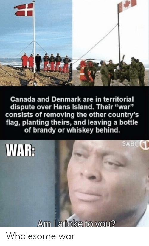 """Denmark: Canada and Denmark are in territorial  dispute over Hans Island. Their """"war""""  sists of removing the other country's  flag, planting theirs, and leaving a bottle  of brandy or whis key behind.  SABC  WAR:  Am l a ioke to you? Wholesome war"""