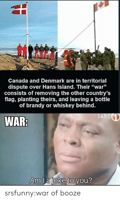 """Denmark: Canada and Denmark are in territorial  dispute over Hans Island. Their """"war""""  consists of removing the other country's  flag, planting theirs, and leaving a bottle  of brandy or whis key behind.  SABC  WAR:  Am la joke to you? srsfunny:war of booze"""