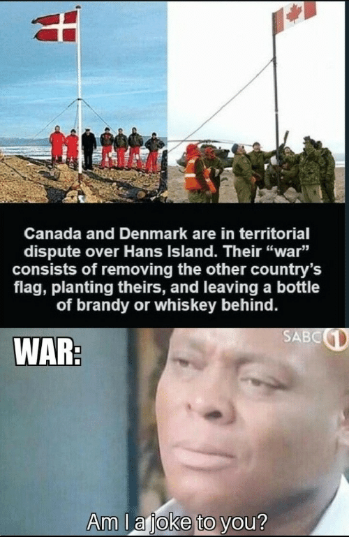 """Denmark: Canada and Denmark are in territorial  dispute over Hans Island. Their """"war""""  consists of removing the other country's  flag, planting theirs, and leaving a bottle  of brandy or whis key behind.  SABC  WAR:  Am lajoke to you?"""