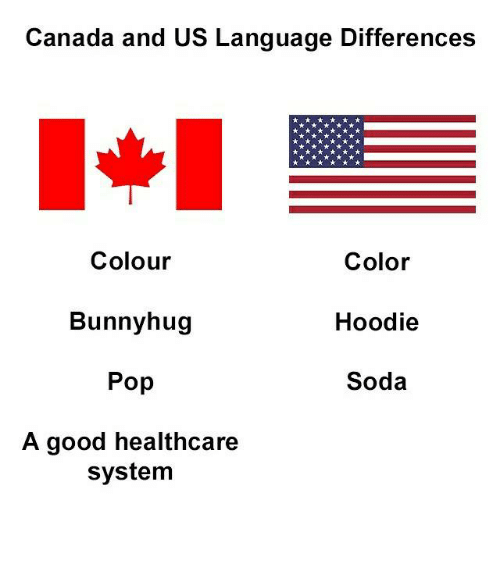 Memes, Pop, and Soda: Canada and US Language Differences  Colour  Bunnyhug  Pop  A good healthcare  Color  Hoodie  Soda  system
