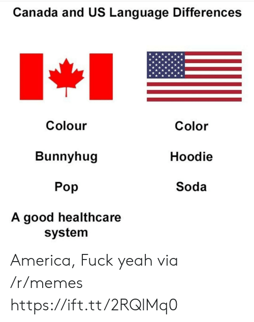 Americas Fucked: Canada and US Language Differences  Colour  Bunnyhug  Pop  A good healthcare  Color  Hoodie  Soda  system America, Fuck yeah via /r/memes https://ift.tt/2RQlMq0