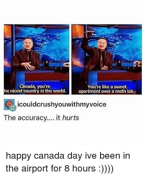 Mething: Canada, you're  he nicest country in the world.  You're like a sweet  apartment over a meth lab.  icouldcrushyouwithmyvoice  The accuracy.... it hurts happy canada day ive been in the airport for 8 hours :))))