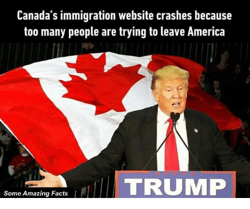 Canada Immigration: Canada's immigration website crashes because  too many people are trying to leave America  TRUMP  Some Amazing Facts