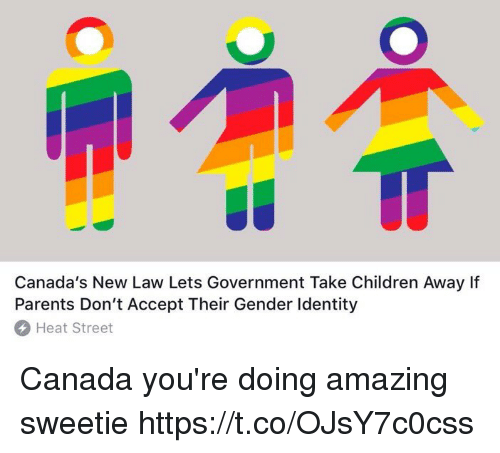 Children, Funny, and Parents: Canada's New Law Lets Government Take Children Away If  Parents Don't Accept Their Gender Identity  Heat Street Canada you're doing amazing sweetie https://t.co/OJsY7c0css