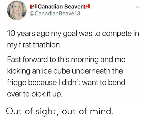 Bend Over: Canadian Beaver  @CanadianBeave13  10 years ago my goal was to compete in  my first triathlon.  Fast forward to this morning and me  kicking an ice cube underneath the  fridge because l didn't want to bend  over to pick it up. Out of sight, out of mind.