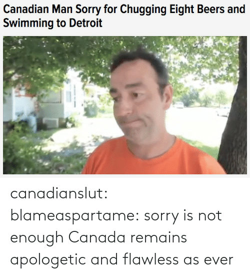 apologetic: Canadian Man Sorry for Chugging Eight Beers and  Swimming to Detroit canadianslut:  blameaspartame:  sorry is not enough  Canada remains apologetic and flawless as ever