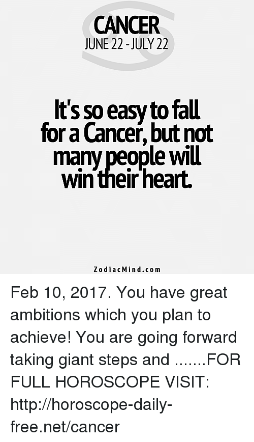 WMU Western Michigan University: CANCER  JUNE 22-JULY 22  It's so e  tofau  for Cancer but not  many people WMu  win their heart.  Zodiac Min d.com Feb 10, 2017. You have great ambitions which you plan to achieve! You are going forward taking giant steps and  .......FOR FULL HOROSCOPE VISIT: http://horoscope-daily-free.net/cancer