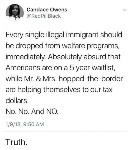 Memes, Absurd, and Truth: Candace Owens  @RedPillBlack  Every single illegal immigrant should  be dropped from welfare programs,  immediately. Absolutely absurd that  Americans are on a 5 year waitlist,  while Mr. & Mrs. hopped-the-border  are helping themselves to our tax  dollars.  No. No. And NO  1/9/18, 9:50 AM Truth.