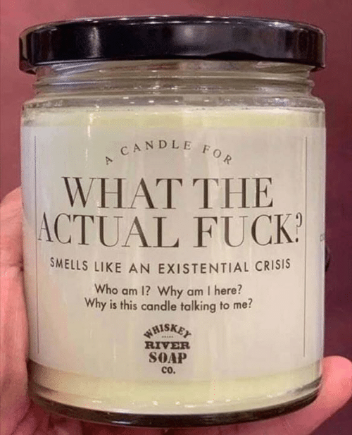 existential: CANDLE FOR  WHAT THE  ACTUAL FUCK  SMELLS LIKE AN EXISTENTIAL CRISIS  Who am 1? Why am I here?  Why is this candle talking to me?  WHISKET  RIVER  SOAP  cO.