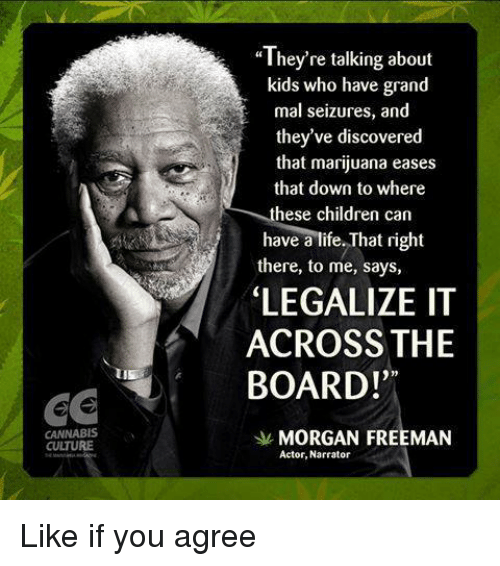 "Cannabis: CANNABIS  CUTURE  ""They're talking about  kids who have grand  mal seizures, and  they've discovered  that marijuana eases  that down to where  these children can  have a life. That right  there, to me, says,  LEGALIZE IT  ACROSS THE  BOARD!""  MORGAN FREEMAN  Actor, Narrator Like if you agree"