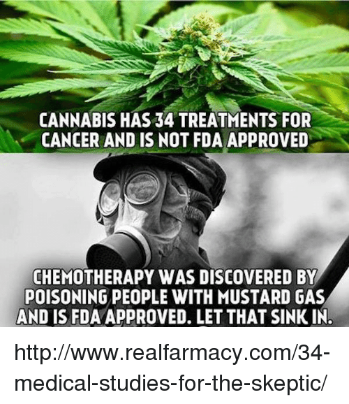 Cannabis: CANNABIS HAS 34 TREATMENTS FOR  CANCER AND IS NOT FDA APPROVED  CHEMOTHERAPY WAS DISCOVERED BY  POISONING PEOPLE WITH MUSTARD GAS  AND IS FDAAPPROVED. LET THAT SINKIN. http://www.realfarmacy.com/34-medical-studies-for-the-skeptic/