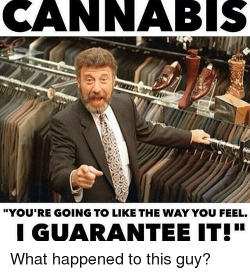 "Cannabis: CANNABIS  ""YOU'RE GOING TO LIKE THE WAY YOU FEEL.  GUARANTEE IT! What happened to this guy?"