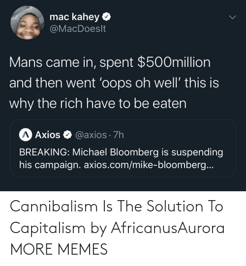 Capitalism: Cannibalism Is The Solution To Capitalism by AfricanusAurora MORE MEMES