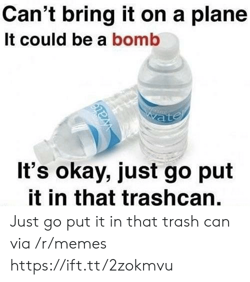 trash can: Can't bring it on a plane  It could be a bomb  It's okay, just go put  it in that trashcan. Just go put it in that trash can via /r/memes https://ift.tt/2zokmvu