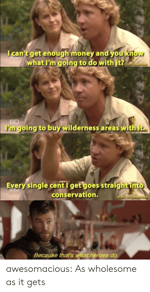 Wilderness: can't get enough money and you kriow  what I'm going to do with it?.  TOFCHAMPIONS  60  I'm going to buy wilderness areas with t  Every single cent I get goes straigh t into  conservation.  HEART OF CHAMPIONS  Because that's what heroes do. awesomacious:  As wholesome as it gets