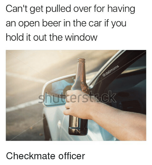 Beer, Memes, and 🤖: Can't get pulled over for having  an open beer in the car if you  hold it out the window Checkmate officer