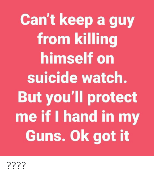 On Suicide Watch: Can't keep a guy  from killing  himself on  suicide watch.  But you'll protect  me if I hand in my  Guns. Ok got it ????