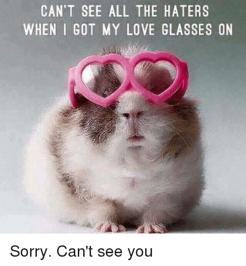 Dank, Love, and Sorry: CAN'T SEE ALL THE HATERS  WHEN I GOT MY LOVE GLASSES ON Sorry. Can't see you