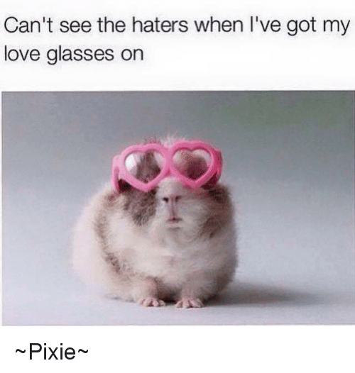 Cant See The Haters: Can't see the haters when I've got my  love glasses on ~Pixie~