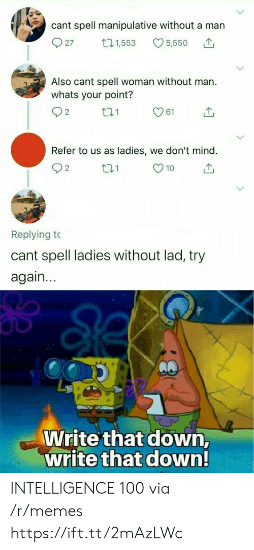 10 2: cant spell manipulative without a man  27  5,550  t21,553  Also cant spell woman without man.  whats your point?  2  61  Refer to us as ladies, we don't mind.  t.1  10  2  Replying to  cant spell ladies without lad, try  again...  Write that down,  write that down! INTELLIGENCE 100 via /r/memes https://ift.tt/2mAzLWc