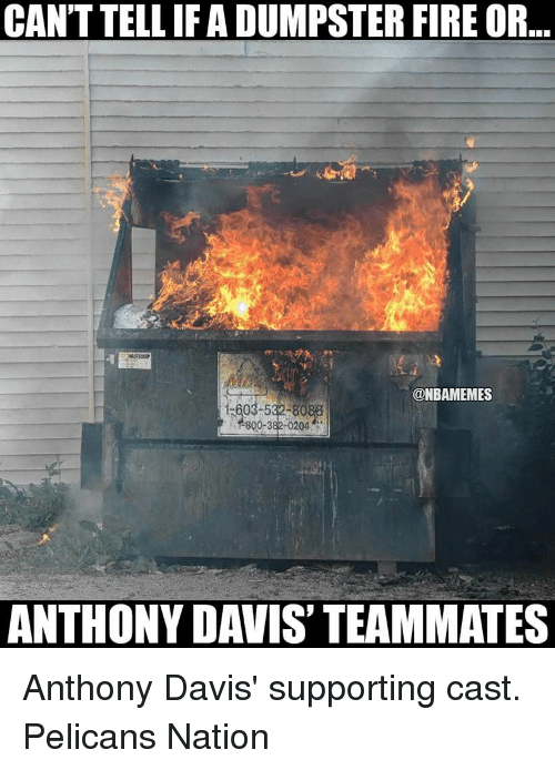 Memes, Anthony Davis, and Casted: CANTTELLIF A DUMPSTER FIRE OR..  @NBAMEMES  15603 532 80  800-382 0204  ANTHONY DAVIS TEAMMATES Anthony Davis' supporting cast. Pelicans Nation
