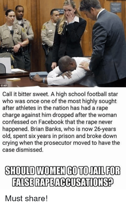 Memes, Athletics, and 🤖: CAP  Call it bitter sweet. A high school football star  who was once one of the most highly sought  after athletes in the nation has had a rape  charge against him dropped after the woman  confessed on Facebook that the rape never  happened. Brian Banks, who is now 26-years  old, spent six years in prison and broke down  crying when the prosecutor moved to have the  case dismissed  SHOULD WOMENCOTOJAL FOR  FALSERAPEACCUSATIONSP Must share!