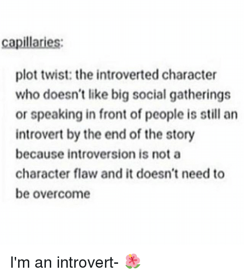 introverted: capillaries:  plot twist: the introverted character  who doesn't like big social gatherings  or speaking in front of people is still an  introvert by the end of the story  because introversion is not a  character flaw and it doesn't need to  be overcome I'm an introvert- 🌺