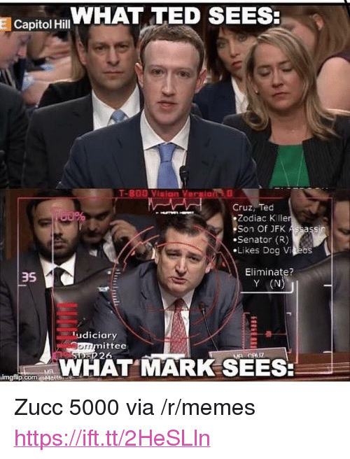 """Y N: Capitol HWHAT TED SEES  Cruz, Ted  Zodiac K lle  Son Of JFK  Senator (R)  ·Likes Dog VAEos  Eliminate?  Y (N  3S  ludiciary  mittee  226  orr  WHAT MARK SEES  imgflip.com.a+lelt凸 <p>Zucc 5000 via /r/memes <a href=""""https://ift.tt/2HeSLln"""">https://ift.tt/2HeSLln</a></p>"""